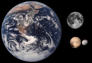 Comparación entre Plutón Caronte Luna Tierra