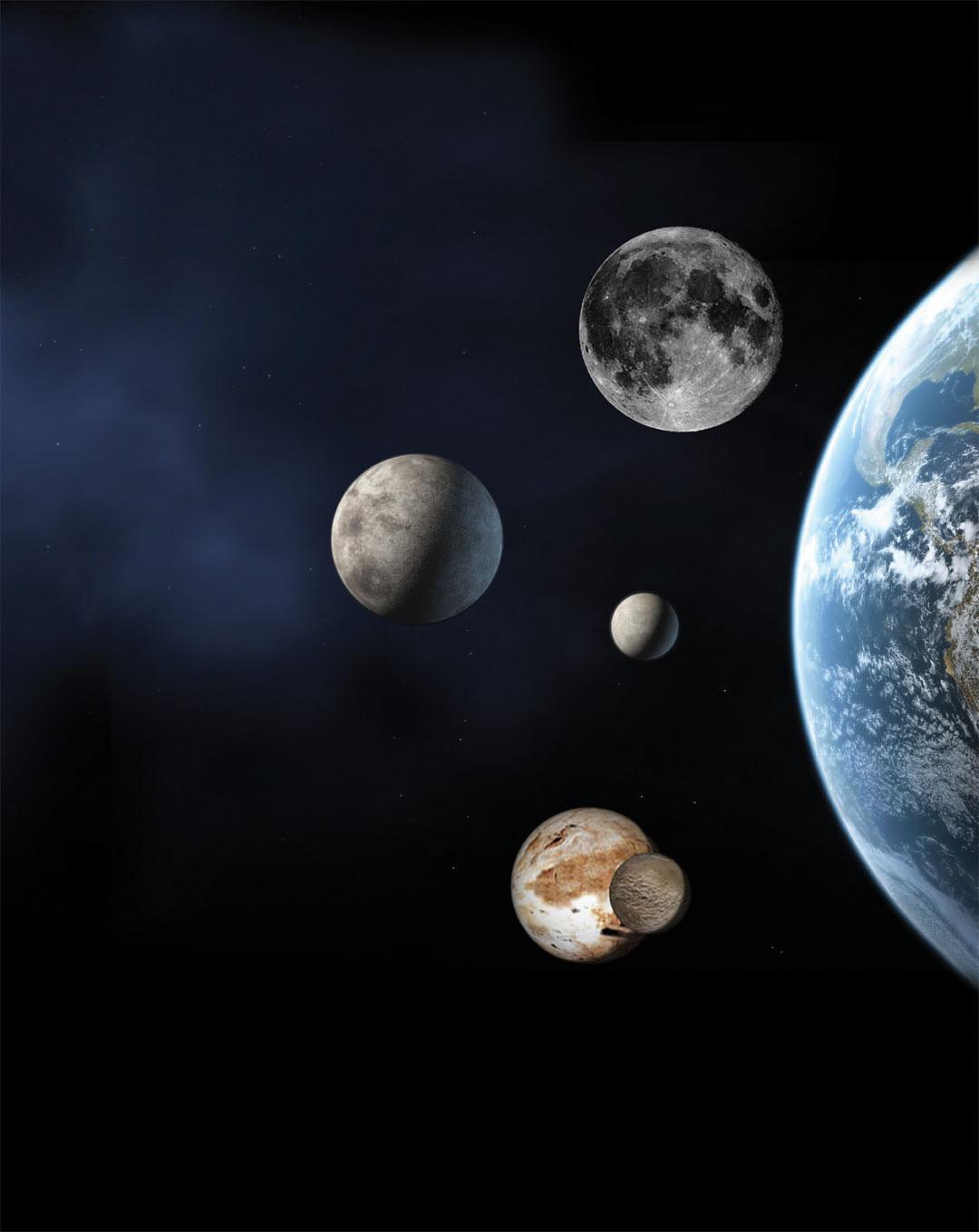 Comparación planetas enanos con la Tierra