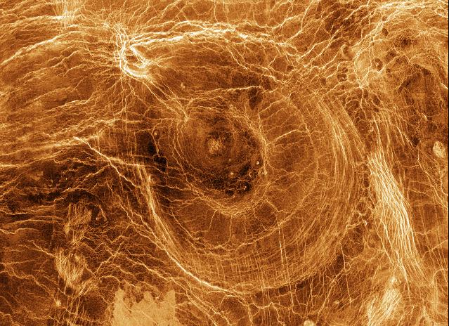 Imagen de la superficie de Venus obtenida por radar por la sonda Magallanes.