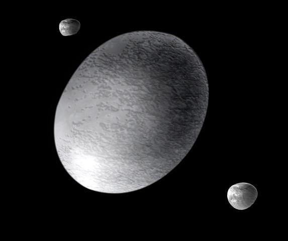 Representación artística de Haumea y sus satélites