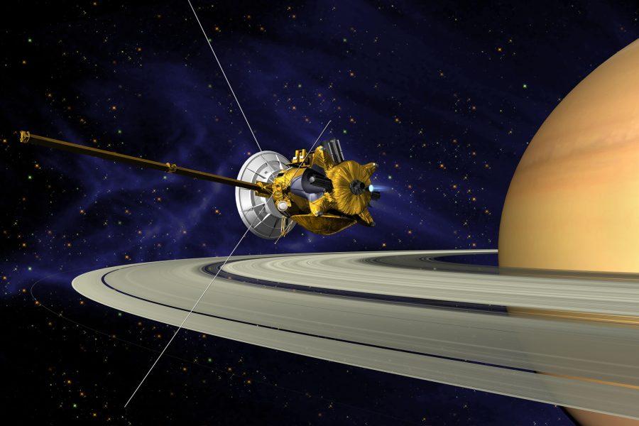 Representación artística de la maniobra de inserción orbital de la misión Cassini/Huygens y su paso por los anillos del planeta