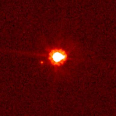 Una imagen del planeta enano Eris y su luna Dysnomia