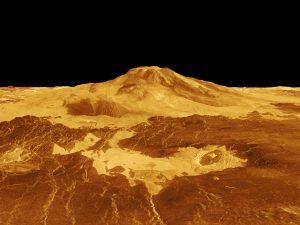 Vista en perspectiva 3D de Maat Mons