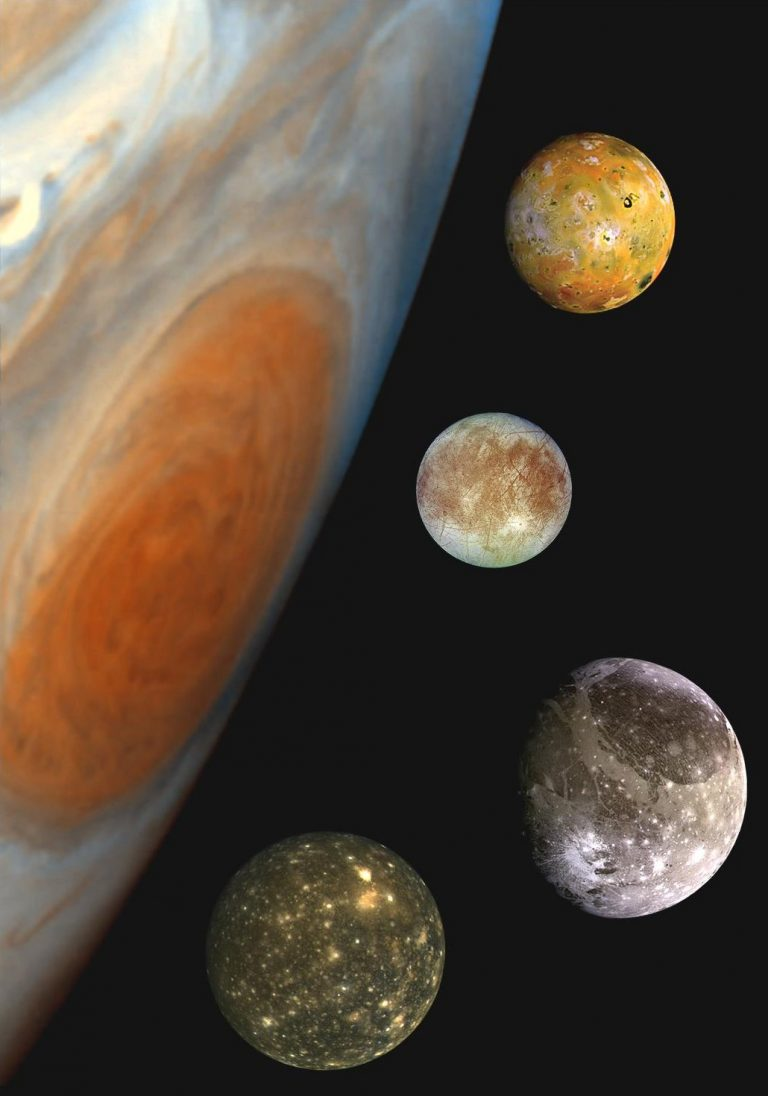 Imagen de Júpiter y los satélites galileanos: Ío, Europa, Ganímedes y Calisto.