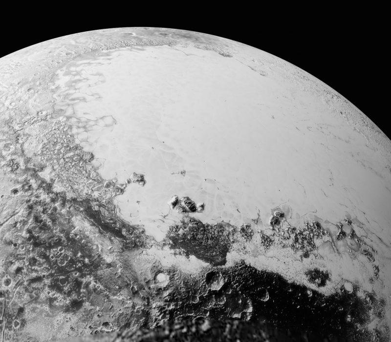 Mosaico esférico o representación de la superficie de Plutón, sobre la base de los datos recibidos de la sonda New Horizons
